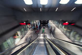 Escalators in a modern underground station — Stock Photo