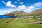 Famjin, Faroe Islands. Peaceful village surrounded by unspoilt n — Stock Photo