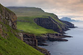 Green meadows and giant sea cliffs overlooking the ocean — Stock Photo