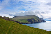 Majestic landscape of Mykines, Faroe Islands : green and blue — Stock Photo
