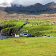 Stock Photo: Faroe Islands, village in green valley overlooking sea