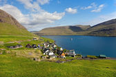 Remote small village surrounded by nature of Faroe Islands — Stock Photo