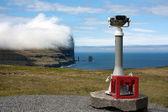 Фарерские острова, панорамный бинокль телескоп, указывая гигант море — Стоковое фото