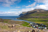 Faroe Islands, village surrounded by unspoilt nature — Stock Photo
