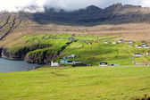 Faroe Islands, village in a green valley overlooking the sea — Stock Photo