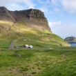 Scenic road running through mountains of Faroe Islands — Stock Photo