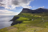 Faroe Islands, remote village on steep cliffs overlooking the se — Stock Photo