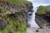 Gjogv, Faroe Islands : natural harbour in the gorge — Stock Photo