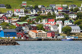 Small nordic village on the sea with colorful buildings — Stock Photo