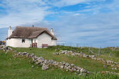 Traditional scottish thatched roof house — Foto Stock