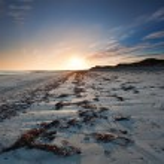 Sunset over Baleshare beach, Outer Hebrides, Scotland. — Stock Photo