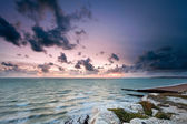 Sunset on the sea at Seaford Head, Sussex, England — Stock Photo