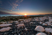 Sunset over white rocks at Birling Gap, Sussex, England — Stock Photo