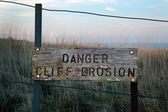 Cliff Erosion wooden warning sign — Stock Photo