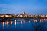 Pavia and Ticino river at twilight — Stock Photo
