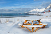 Runder Tisch an einem verschneiten Strand Picknick — Stockfoto