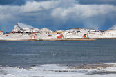Remote norwegian village over arctic circle — Stock Photo