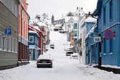 Empty street of Tromso covered by snow — Stock Photo