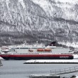 Hurtigruten ship entering Tromso harbour — Foto Stock #41990167