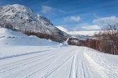 Estrada gelada atravessa montanhas norueguesas — Foto Stock