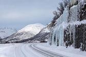 Norwegian winter road, ice and snow — Stock Photo