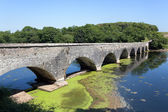 Old eight arch bridge in welsh countryside — Stock Photo