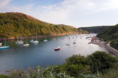 Sailing boats moored in the scenic harbor of Solva, Wales — Stock Photo