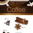Vector romantic coffee spicy collection: espresso, vanilla, cinnamon, cloves and coffee bean — Stock Vector #40646857