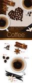 Vector romantic coffee spicy collection: espresso, vanilla, cinnamon, cloves and coffee bean — Stock Vector