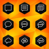 Speech bubble. Hexagonal icons set on abstract orange background — Stock Vector