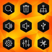 Settings. Hexagonal icons set on abstract orange background — Stock Vector