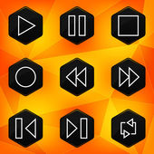 Player. Hexagonal icons set on abstract orange background — Stock Vector
