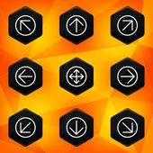 Arrow. Hexagonal icons set on abstract orange background — Stock Vector