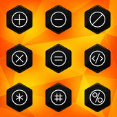 Symbol. Hexagonal icons set on abstract orange background — Stock Vector