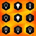Bulbs. Hexagonal icons set on abstract orange background — Stock Vector #41484545