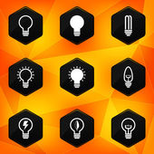 Bulbs. Hexagonal icons set on abstract orange background — Stock Vector