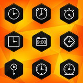 Clock and Time. Hexagonal icons set — Stock Vector