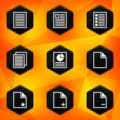 Paper. Hexagonal icons set on abstract orange background — Stock Vector