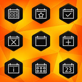 Calenadar. Hexagonal icons set on abstract orange background — Stock Vector