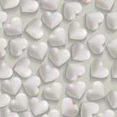 Seamless romantic white hearts valentines vector background — 图库矢量图片