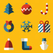 Flat icon set. Merry Christmas — Stock Vector