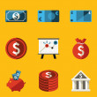 Flat icon set. Money — Stock Vector