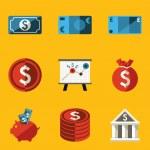 Flat icon set. Money — Stock Vector
