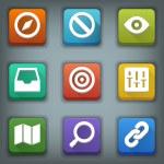 Flat icon set. White Symbols. Web 2 — Stock Vector