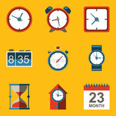 Flat icon set. Time. Clock — Vector de stock