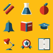 Flat icon set. Education — Stock Vector