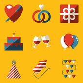 Flat icon set. Holiday. Love — Stock Vector