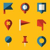 Flat icon set. Push pin map — Stock Vector