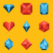 Flat icon set. Diamond — Stock Vector