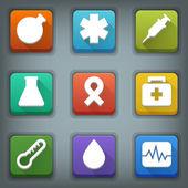 Flat icon set. White Symbols. Medical — Vector de stock